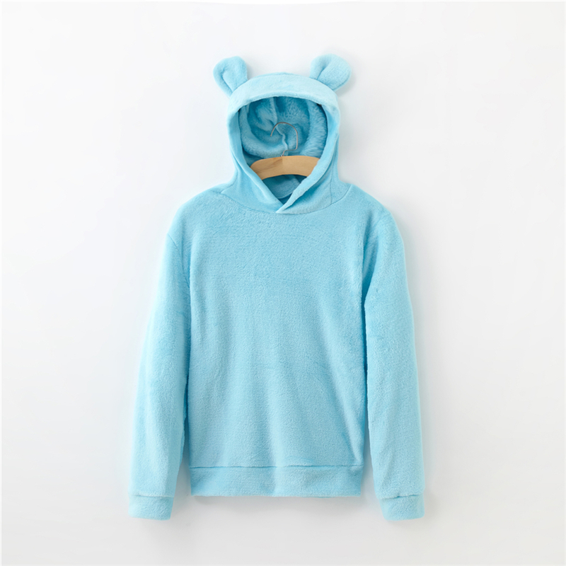 Women's Flannel Hoodies Sweatshirts Lovely With Bears Ears Solid Warm Hoodie Autumn Winter Casual Campus Pullovers Coat 4