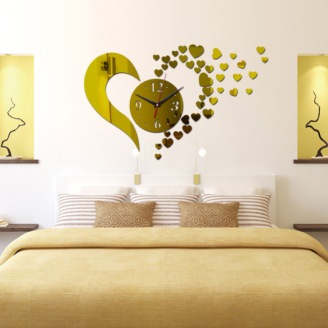 2016 new hot sale 3d wall clock home decoration Quartz Geometric diy crystal mirror art kids modern design watch free shipping