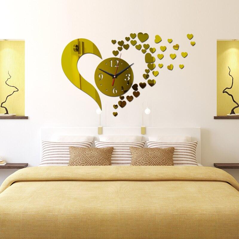 New Hot Sale 3d Wall Clock Home Decoration Quartz Geometric Diy Crystal Mirror Art Kids Modern Design Watch Free Shipping