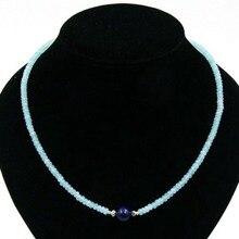 Clásico Hecho A Mano Delicado Cuentas de Aguamarinas con Lapis Lazuli Pendant Necklace 48 cm 2016 Nueva Joyería de La Piedra Natural