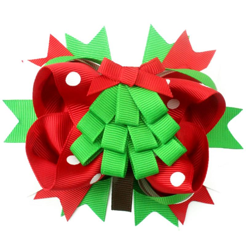Adogirl Red and Green Christmas Festival Boutique Alligator Clip Grosgrain Ribbon Barrettes Hair Bows Clips Best new year Gift