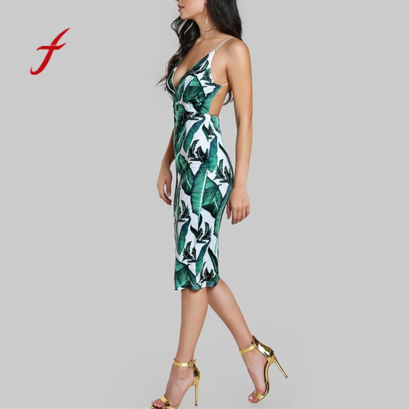 370a544d9a2b3 2018 Backless Fitted Slip Dress Green Tropical Print Sexy Women Summer  Dresses Plunge Neckline Bodycon Club Party Dress