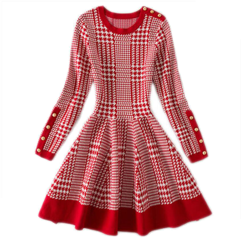 Autumn Spring Women's Jacquard Plaid Long Style Sweater Fashion Casual Sweater Dress Style Elegant Long Style Sweater Dress