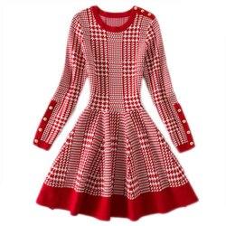 Herbst frühling frauen Jacquard Plaid Lange Stil Pullover Mode Lässig Pullover Kleid Stil Elegante Lange Stil Pullover Kleid