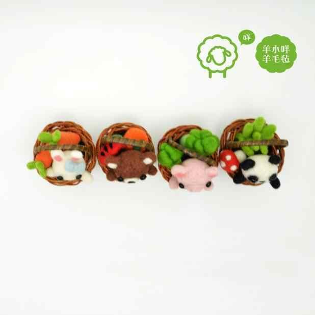 Coelho, Panda, Cesta, mini-rattan Decoração Do Carro lã tapeçaria kit feltragem com agulha de feltro de lã decoração artesanato needlecraft DI