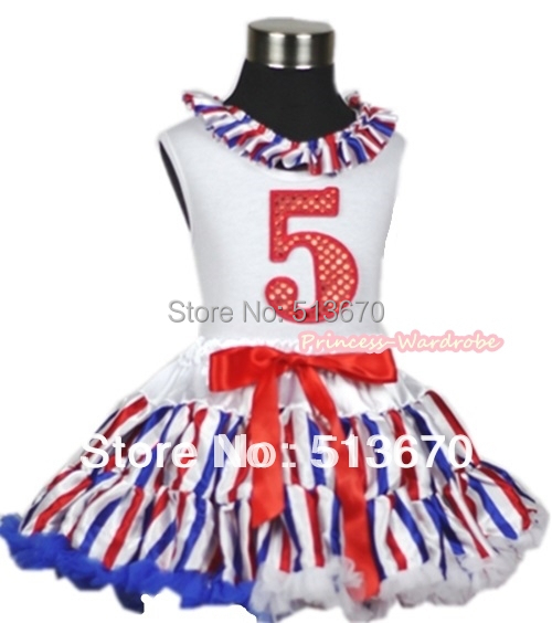 White Tank Top With Red White Blue Stripe Lacing 5th Sparkle Red Birthday Number Red White Royal Blue Striped Pettiskirt MAMG618 xmas white tank top 2nd sparkle red birthday number with red snowflakes ruffles