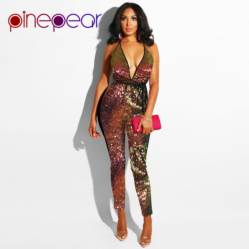 ef731ce19ec9 PinePear New 2019 Colorful Glitter Sequin Jumpsuit Women Sexy Deep V-Neck  Backless Bandage Bodysuit Clubwear Macacao Feminino