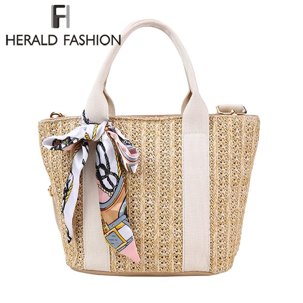 Herald Fashion Straw Knitted Women Handbag Summer Beach Tote Bag With Scarf Large Capacity Handmade Rattan Woven Shoulder Bag