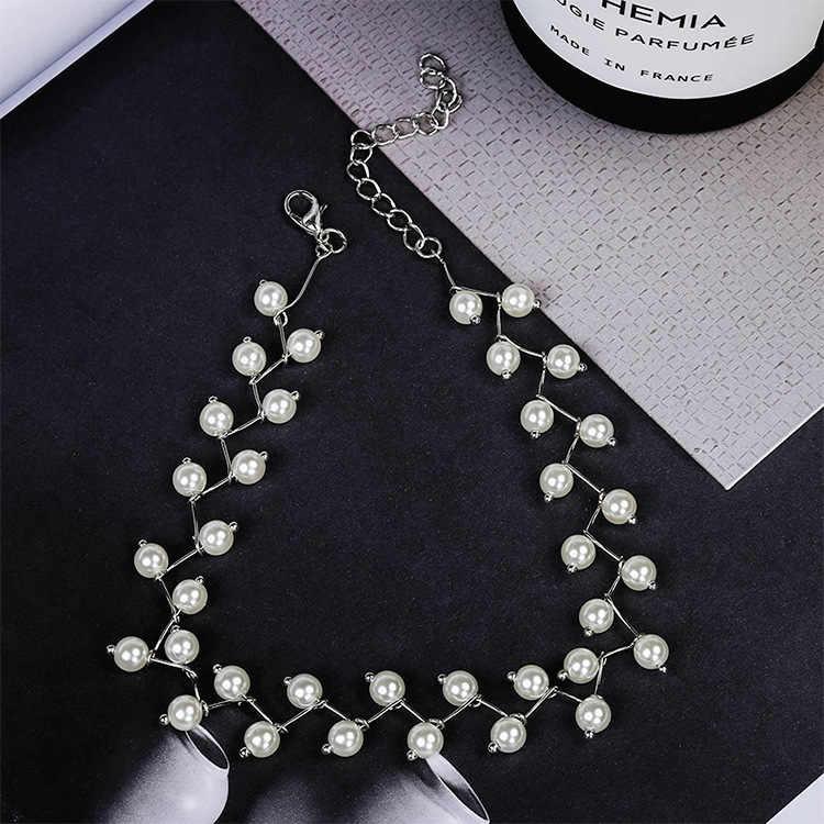 หลายสีขาวธรรมชาติ Baroque Pearl Choker สร้อยคอผู้หญิงสไตล์เรียบง่าย Handmade DIY งานแต่งงานของขวัญเครื่องประดับ