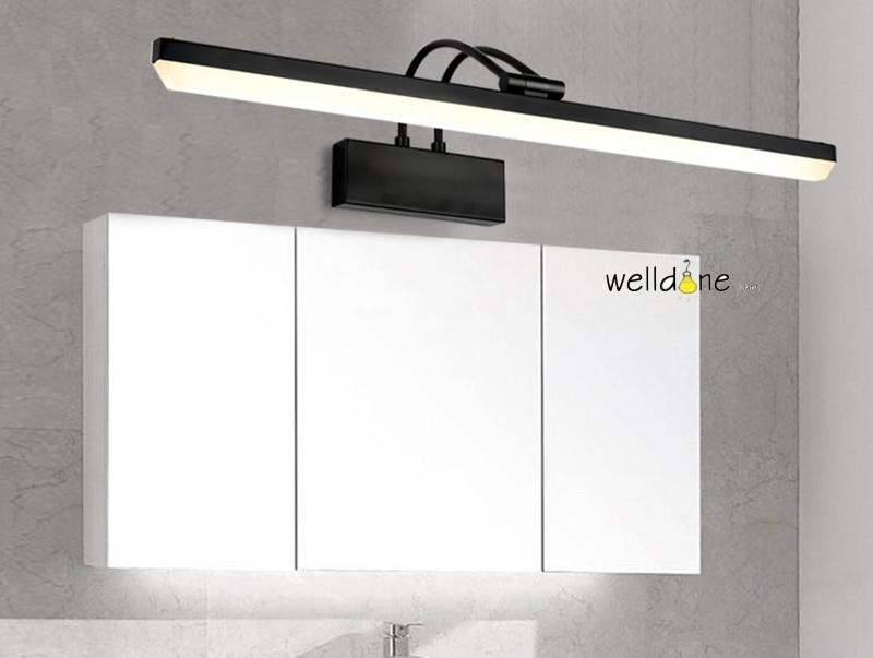Moderna lâmpada espelho LEVOU preto vaidade do banheiro fixado na parede de luz 58 cm comprimento antinebuloso impermeável frete grátis - 2
