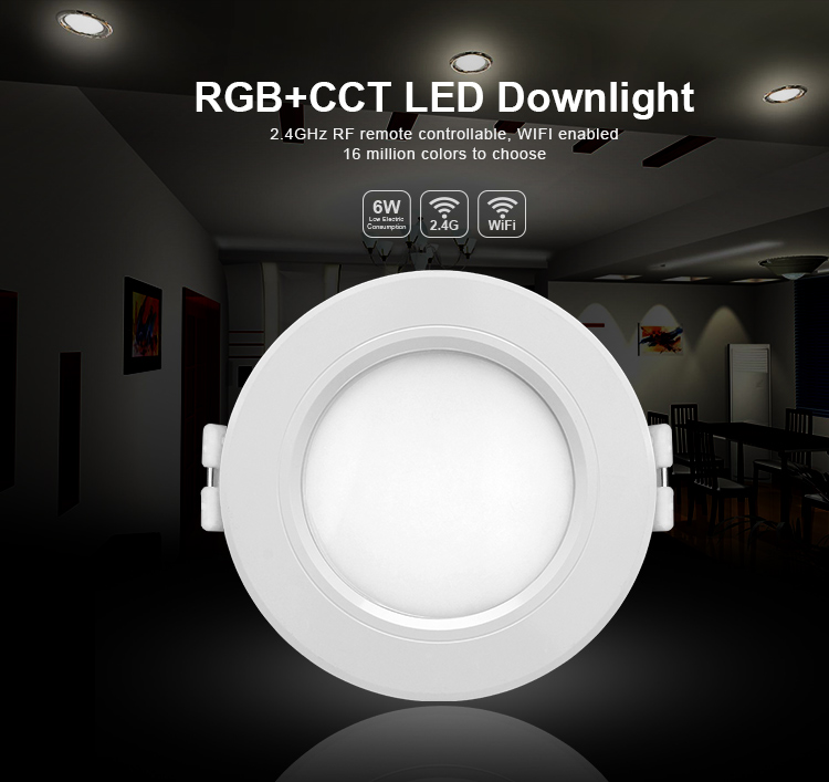 Mi Light 6W/12W RGBCCT (RGB+Warm White/White) led downlight by wifi led controller 2.4G Remote Control Brightness Dimmer mi light 2 4g 1pcs lot 12w led downlight remote rf control wireless bulb lamp white warm white down light 85 265v