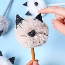 16pcs/set Plush Cat Neutral Pen Cute Meow Modeling Gel Student Stationery Manufacturer Wholesale Animal