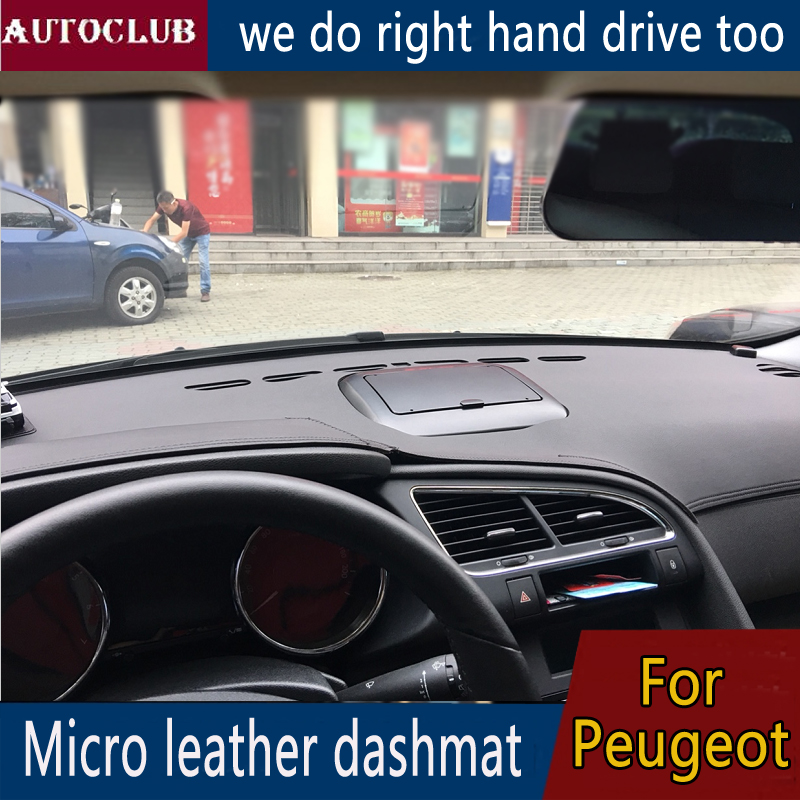 For Peugeot 208 301 308 408 508 2008 3008 5008 107 206 307 207 4007 Leather Dashmat Dashboard Cover Pad Dash Mat Sunshade carpet