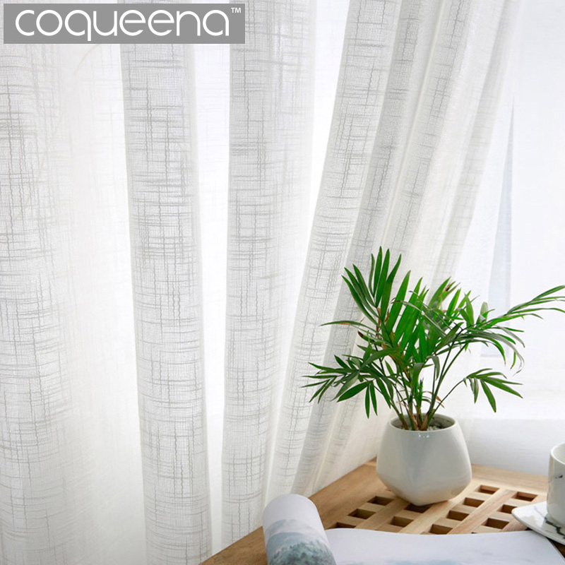 Cheap White Tulle Curtain Sheer Linen Curtains For Living Room Bedroom Kitchen Voile Tulle Sheer Curtains Window Treatments