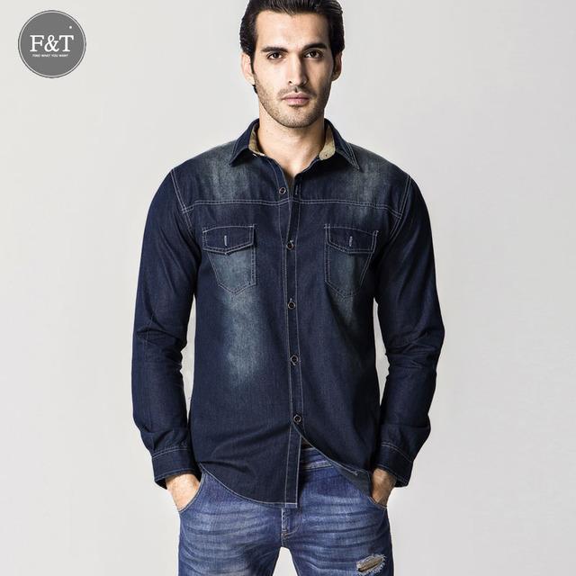 [Asiático tamaño] moda Hombre Jeans Camisa Slim Fit Marca Camisas de Mezclilla Ocasional Masculina de Manga Larga Camisa de Vaquero Camisa Vaqueros Masculina 6XL