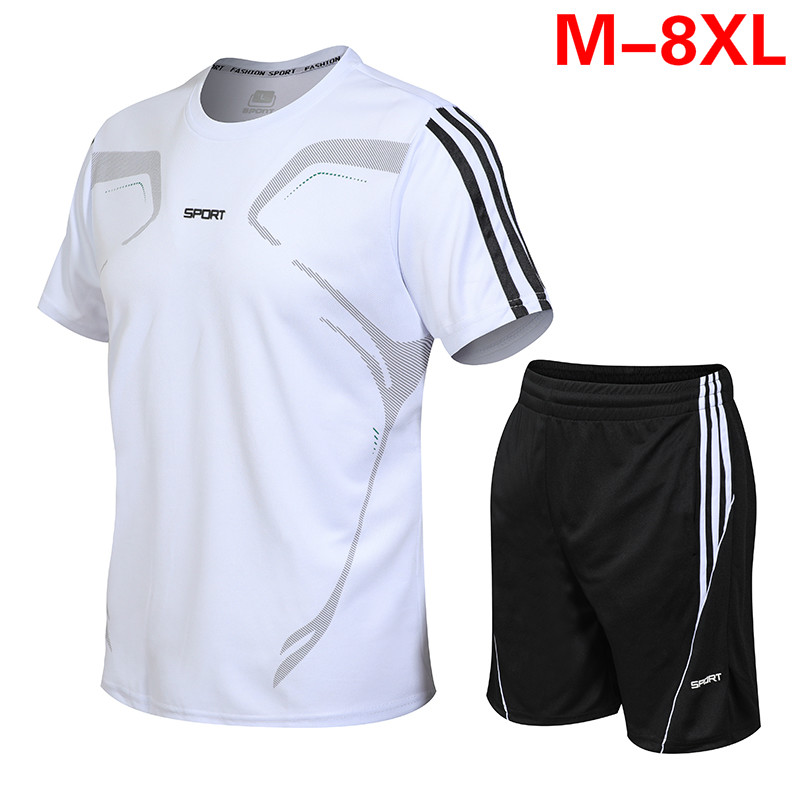PLUS Size 8XL 7XL 6XL 5XL Men SET Summer Tracksuit Set Short Sleeve T-shirt Sport Suit Tops Shorts Male Suits Tracksuits