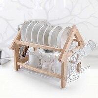 Kitchen racks wooden 2 layer plates chopsticks cup holder drain bowl rack drying filter dish rack wx4211645