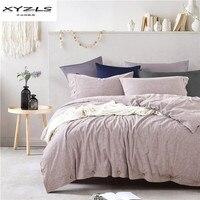 XYZLS 100% лен постельное белье современные твердой Цвет постельного белья Twin queen King Размеры Стёганое одеяло крышка наволочки домашний текстиль