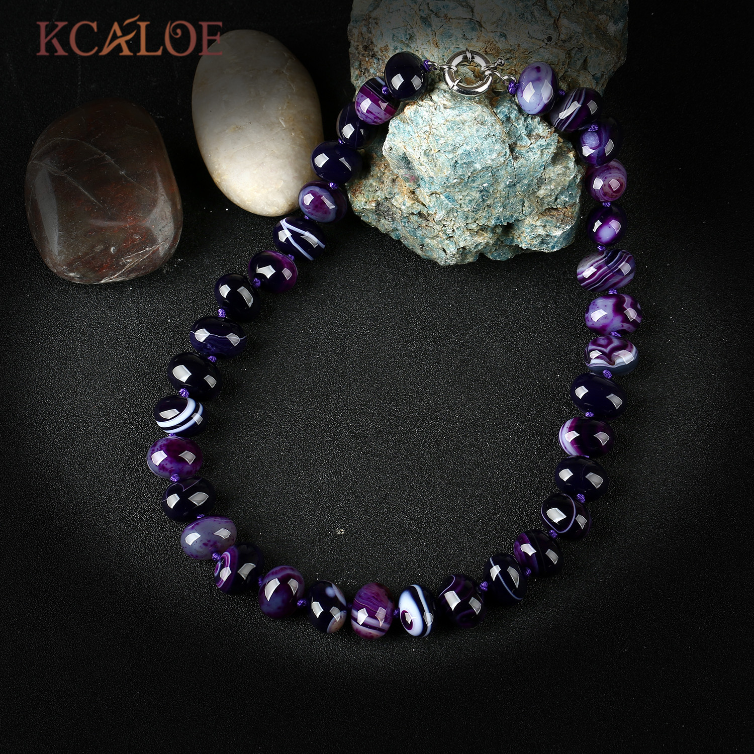 KCALOE Natural Purple Banded Agat Necklace For Women Oval Beads Onyx Stone Choker Necklaces Jewerly Collier Ras Du Cou