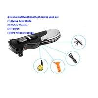Hot Flashlight Tire Gauge Emergency Tool Digital LCD Car Tyre Tire Pressure Gauge Meter Hammer For