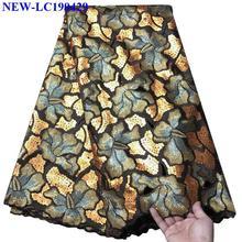 Французский нигерийские кружевные ткани Высокое качество Тюль кружевная ткань в африканском стиле для женское платье пайетки Французский органзы кружевной ткани XDE03