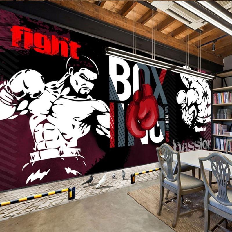 Wallpaper 3D Custom Graffiti Boxing Sports Club Image Wall