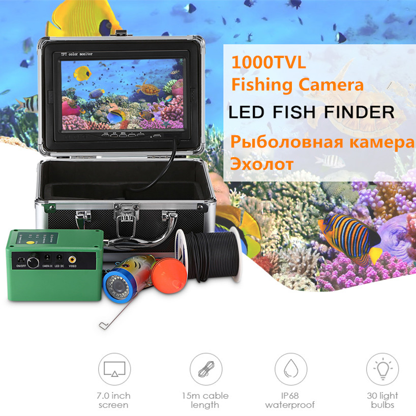 15M / 30M 1000TVL Fish Finder Underwater Fishing Camera Kit 7 Inch Monitor Fishfinder Fishing Video Infrared Light EU / US Plug15M / 30M 1000TVL Fish Finder Underwater Fishing Camera Kit 7 Inch Monitor Fishfinder Fishing Video Infrared Light EU / US Plug