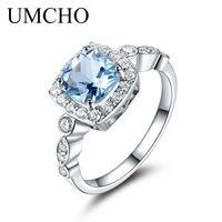 UMCHO Bất S925 Sterling Silver Nhẫn đối với Phụ Nữ Blue Topaz Nhẫn Đá Quý Aquamarine Đệm Món Quà Lãng Mạn Đồ Trang Sức Đính Hôn