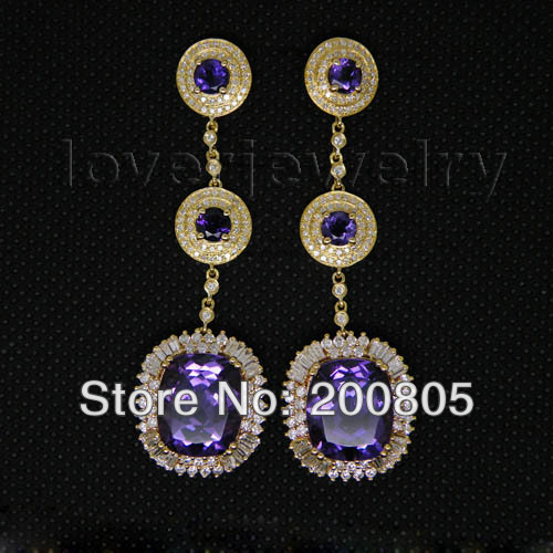 Gorgeous Amethyst Earrings Vintage In 18kt Yellow Gold Natural Diamond Earrings for Women Jewelry E00148A pair of gorgeous rhinestoned floral jewelry earrings for women