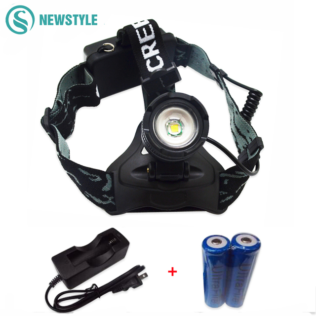 T6 XML-U2 LED Head Lamp 2000LM Rechargeable Headlight Head light Lamp LED Flashlight Hunting Lamp +18650 battery+ AC charger