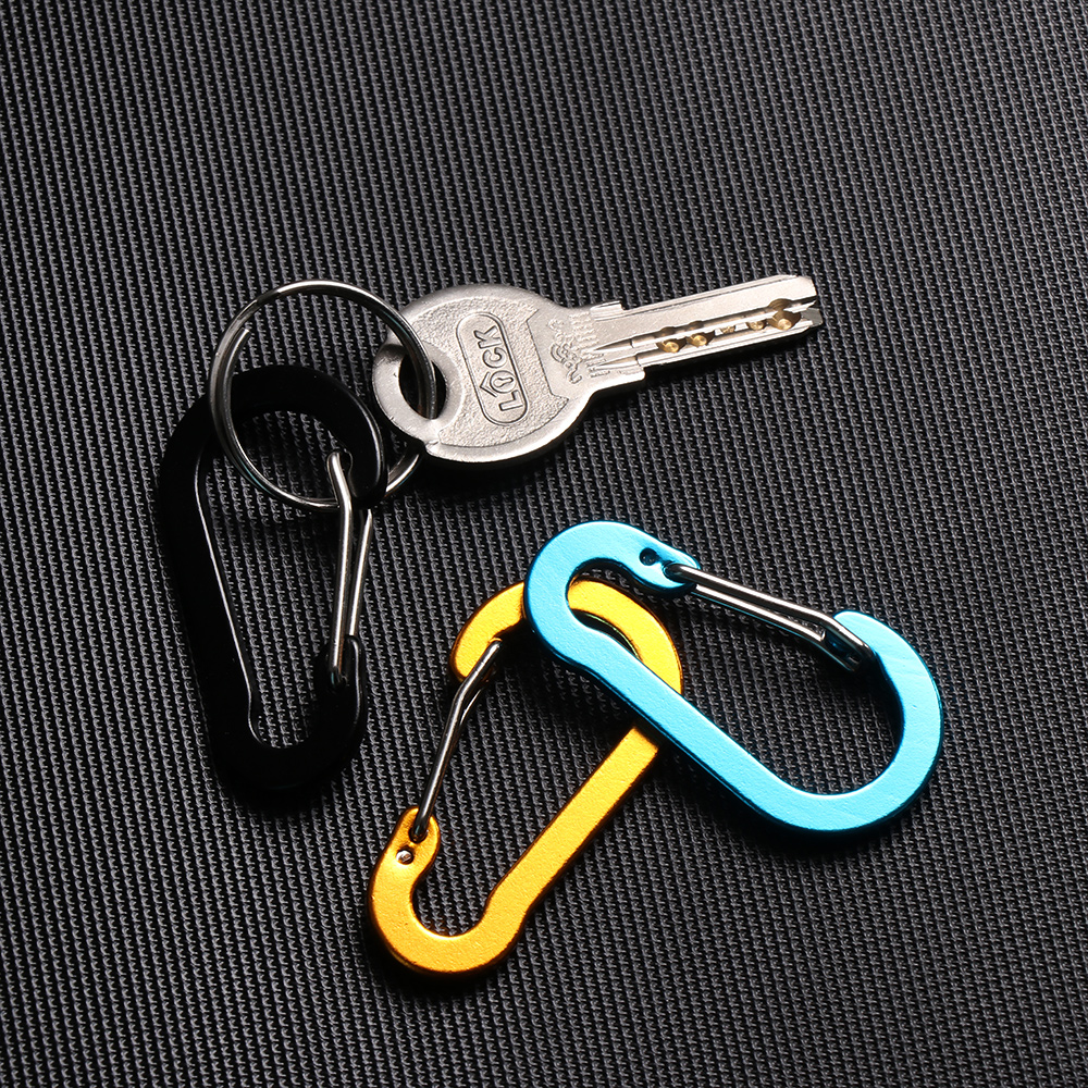5pc 4cm Stainless Steel Spring Carabiner Locking Clip Snap Hook Keychain Camping