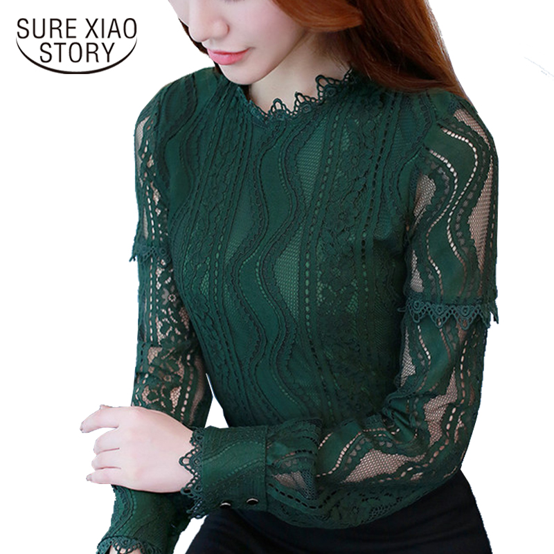 2018 new long sleeve hollow out lace Women clothing stand neck casual women tops plus size women   blouses     shirt   blusas D117 30