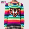 Jastie Rainbow Stripes Tiger Jumper Winter Sweater Women Wool Pullover 2017 Fashion Embroidered Tops Casual Knitting
