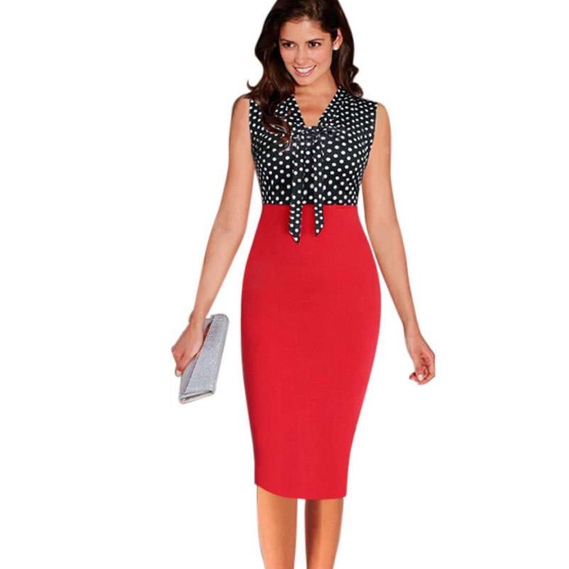 Sexy Womens Elegant neck Tie Bow Contrast Vintage Pinup Slim Casual Work Business Office Party Bodycon Pencil Sheath Dress new