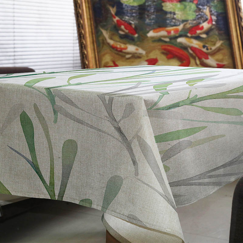 Creative Simplicity Ink painting style plant leaves pastoral pattern linen Tablecloth Home Office hotel decorate tablecloth