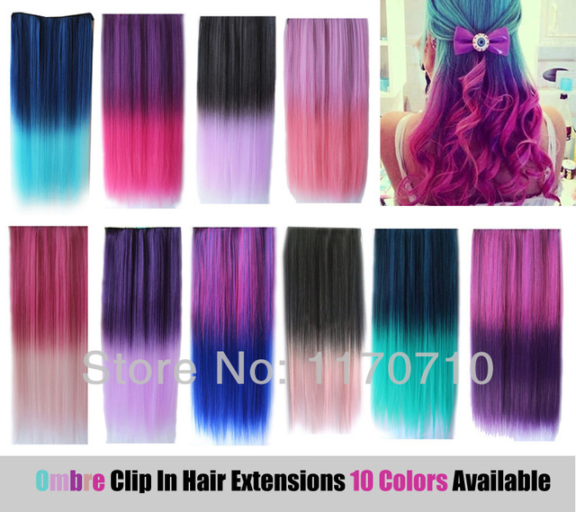 Cheap Synthetic Clip In Ombre Colorful Hair Extensions 22 Straight