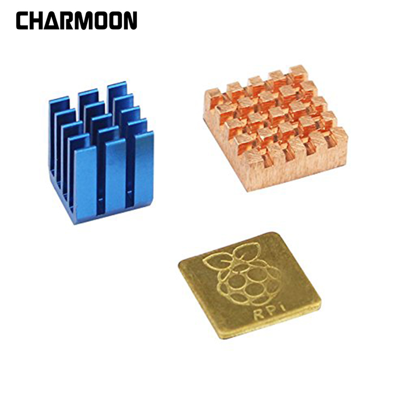 For Raspberry Pi 3/2 Model B Heat Sink 1 Aluminum + 2 Copper With Logo Real Thermal Conducting Tape Cooling Heat Sink
