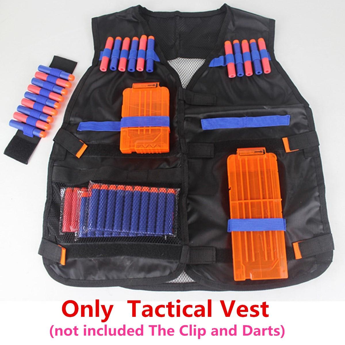 Children Kids Black Tactical Vest Jacket Waistcoat Ammo Holder Lite Pistol Bullets Toy Clip Darts For Nerf N-Strike Elite