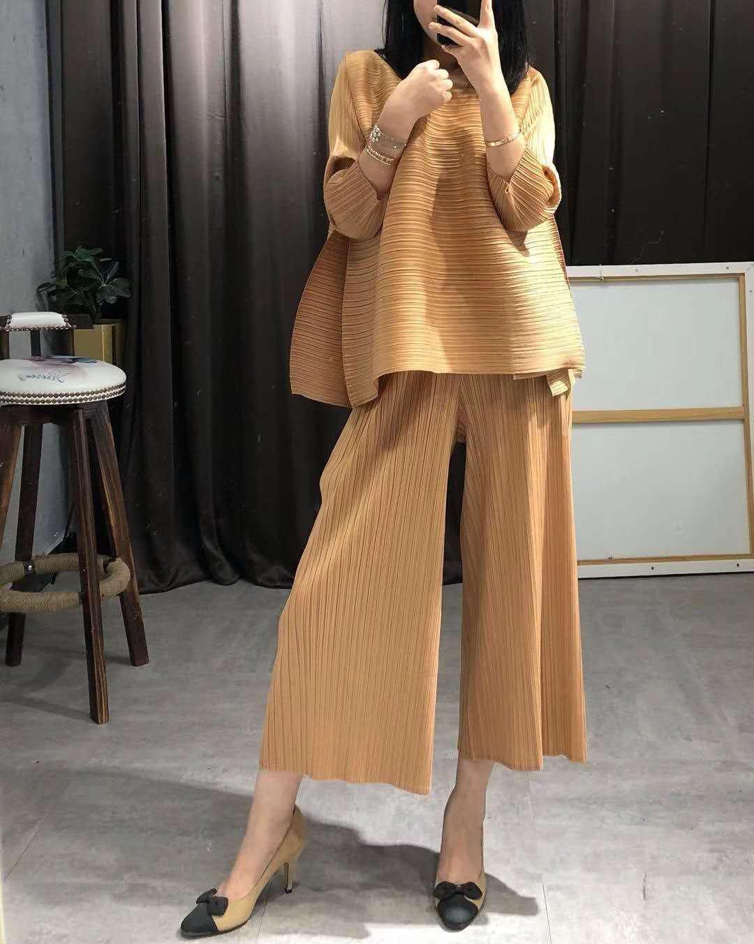 Piezas khaki blue Dos Casuales 2019 Apricot Superaen Pluz Nuevo Tops Moda Conjuntos Salvaje De Verano Tamaño Suelto Europa orange Mujeres Mujer purple Pantalones black nZZPxaW