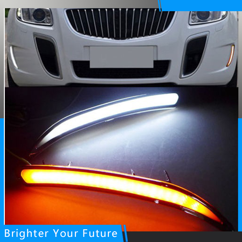 Car White+Yellow Daytime Running Light Drive Lamp for Buick Regal GS 2010 2011 2012 2013 2014 2015 LED DRL Daylight Fog Lamp car white yellow daytime running light drive lamp for buick regal gs 2010 2011 2012 2013 2014 2015 led drl daylight fog lamp