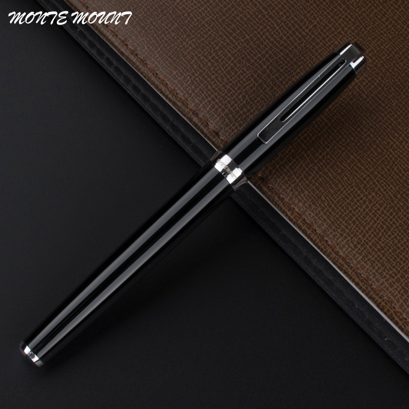 MONTE MOUNT Luxury black roller ball pen office school supplies Hot sale Blance brand pen Gift romanson rm1266qlg wh romanson