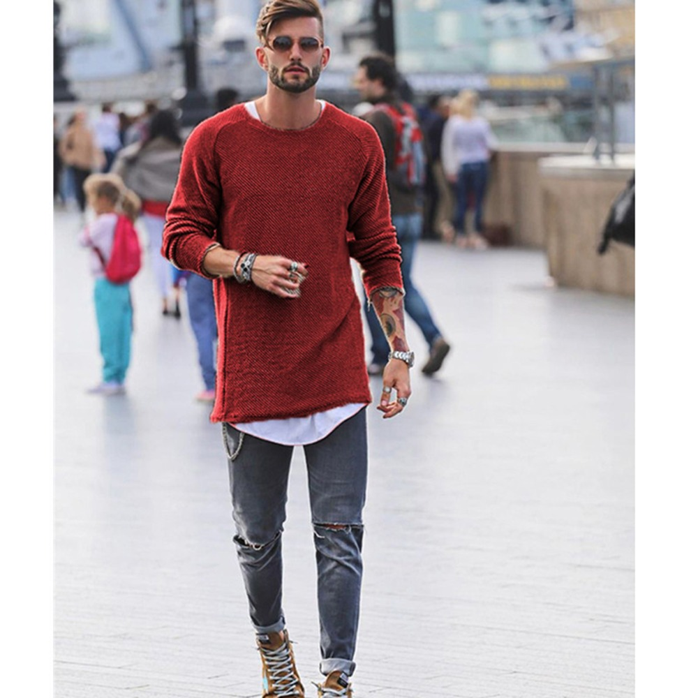 5e9e47ae61e US $11.4 46% OFF|2018 brand social Men Sweater Autumn Winter Knitted Loose  Jumper Male blue thin men's pullover sweaters casual masculino jersey-in ...
