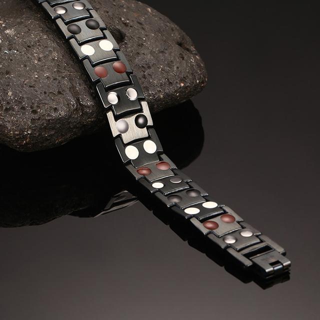 Oktrendy Magnetic Bracelet Men Chain Black Stainless Steel Bangle Health Energy Bracelets Jewelry For Women or Men NO246