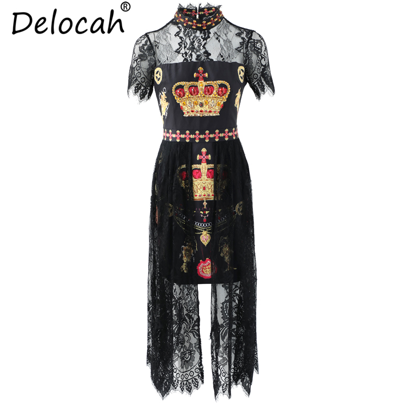 Delocah 2019 Women Summer Dress Runway Fashion Short Sleeve Printed Beading Lace Splice Elegant Vintage Holiday Midi Dresses in Dresses from Women 39 s Clothing
