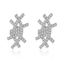 ROLILASON  Fashion Crystal Zircon 925 Sterling Silver Stud Earrings Elegant Mothers Day Gift Lady Exclusive se43A