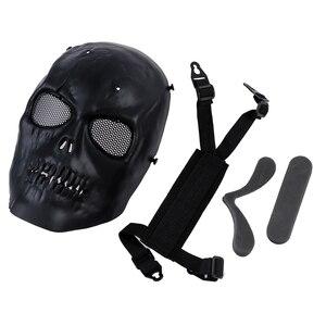 Image 4 - Schedel Skelet Airsoft Paintball Bb Gun Full Face Mask Bescherm Shot Helmen Schuim Gevoerde Binnenkant Zwart Eye Shield Volledige Cover
