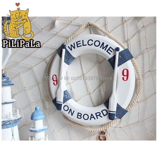 US $18.99 20% OFF Mediterranen Stil Rettungsring Design Hängende Dekoration  Chambre Enfant Wand Wohnkultur Marine Dekoration 28 cm Traum Catcher in ...