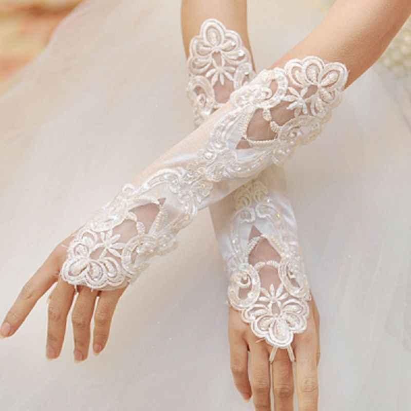 女性ブライダルロング手袋指なし刺繍レースグリッタースパンコール無地肘の長さミトンフック指の結婚式