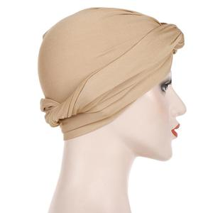 Image 4 - Muslim Women India Hat Muslim Hijab Ruffle Chemo Beanie Turban Islamic Wrap Cap Amira Plain Headscarf Hair Loss Hat Knot Bonnet