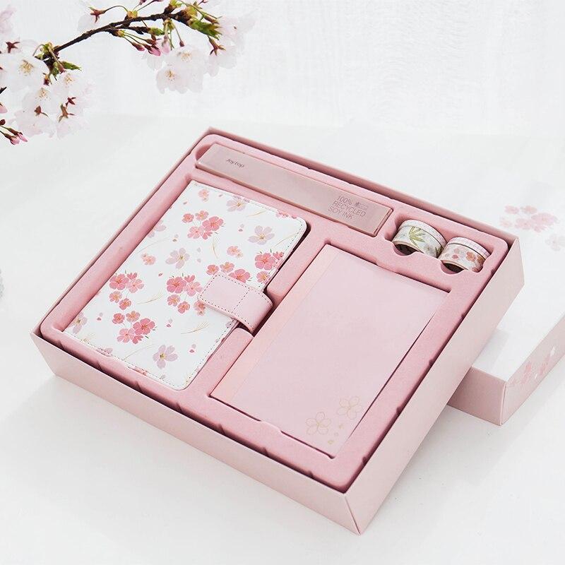Kawaii coffret cadeau Sakura cahier/Washi robinet/stylo/règle Janpanese bricolage agenda bureau et fournitures scolaires mignon papeterie
